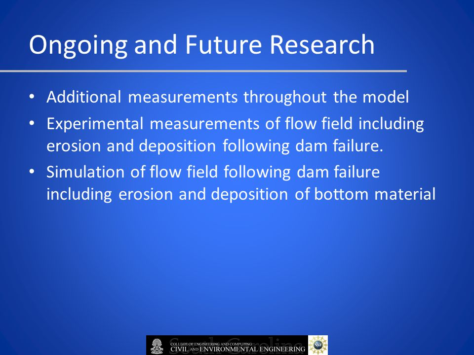 Additional measurements throughout the model Experimental measurements of flow field including erosion and deposition following dam failure.