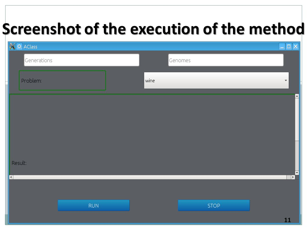 Screenshot of the execution of the method 11