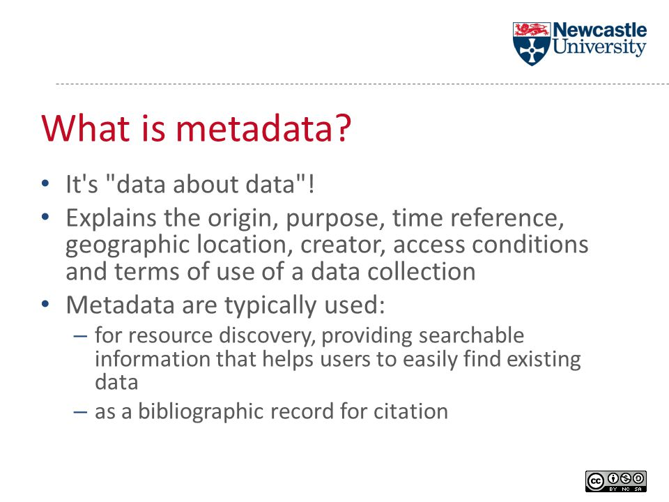 What is metadata. It s data about data .
