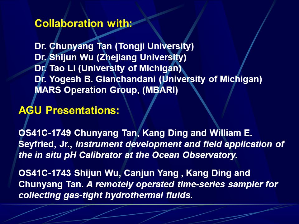 Collaboration with: Dr. Chunyang Tan (Tongji University) Dr.