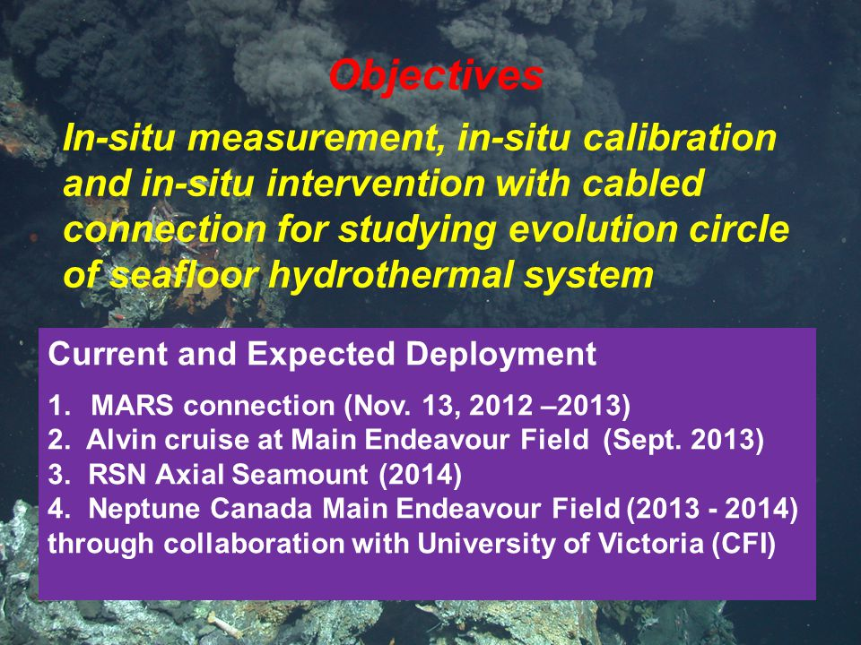 Objectives In-situ measurement, in-situ calibration and in-situ intervention with cabled connection for studying evolution circle of seafloor hydrothermal system Current and Expected Deployment 1.MARS connection (Nov.