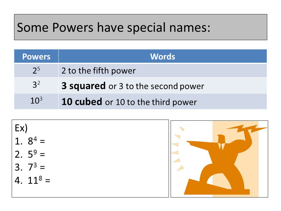 Vocabulary 4 6 Base Exponent The exponent is sometimes referred to as the power.