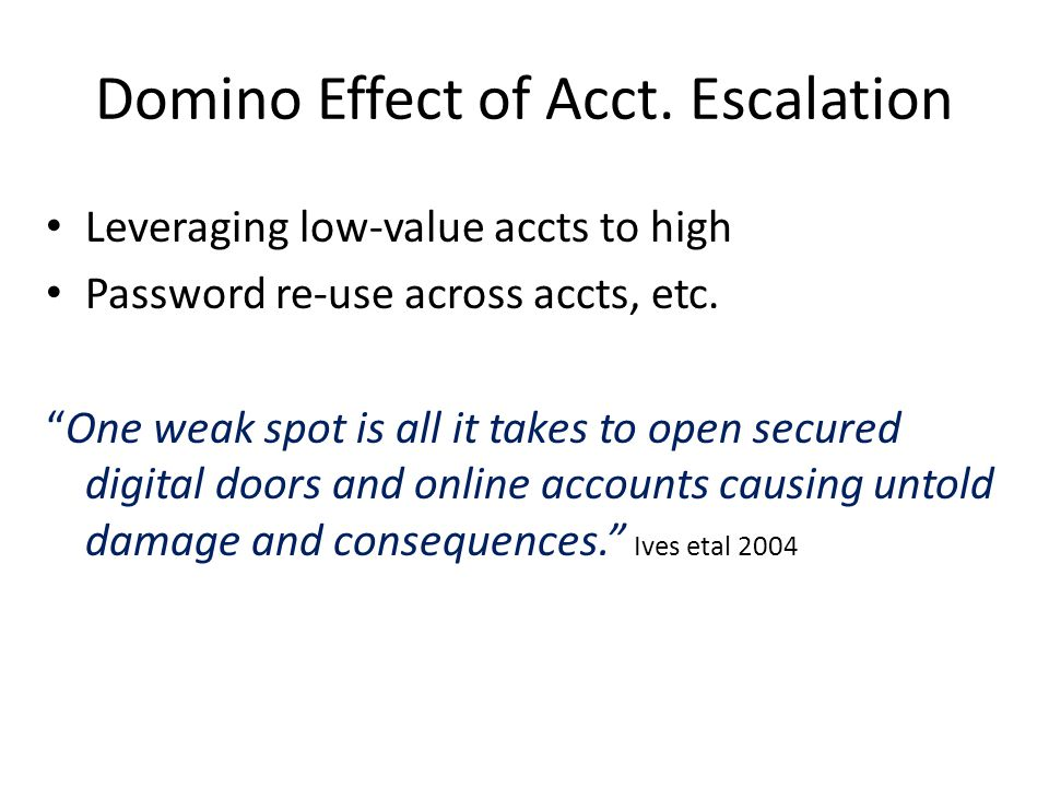 Domino Effect of Acct.