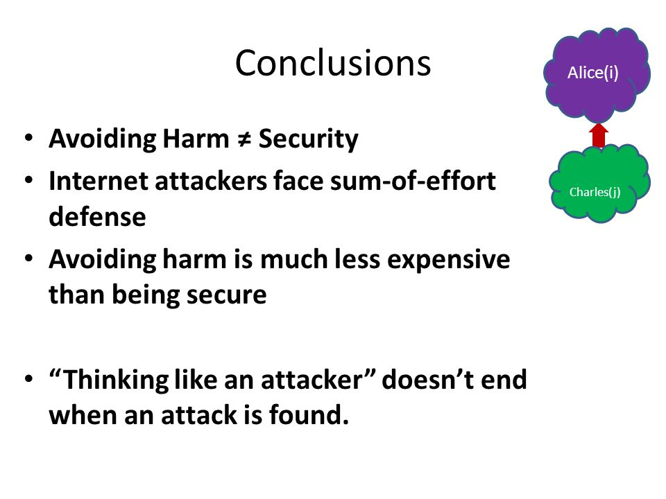 Conclusions Avoiding Harm ≠ Security Internet attackers face sum-of-effort defense Avoiding harm is much less expensive than being secure Thinking like an attacker doesn't end when an attack is found.