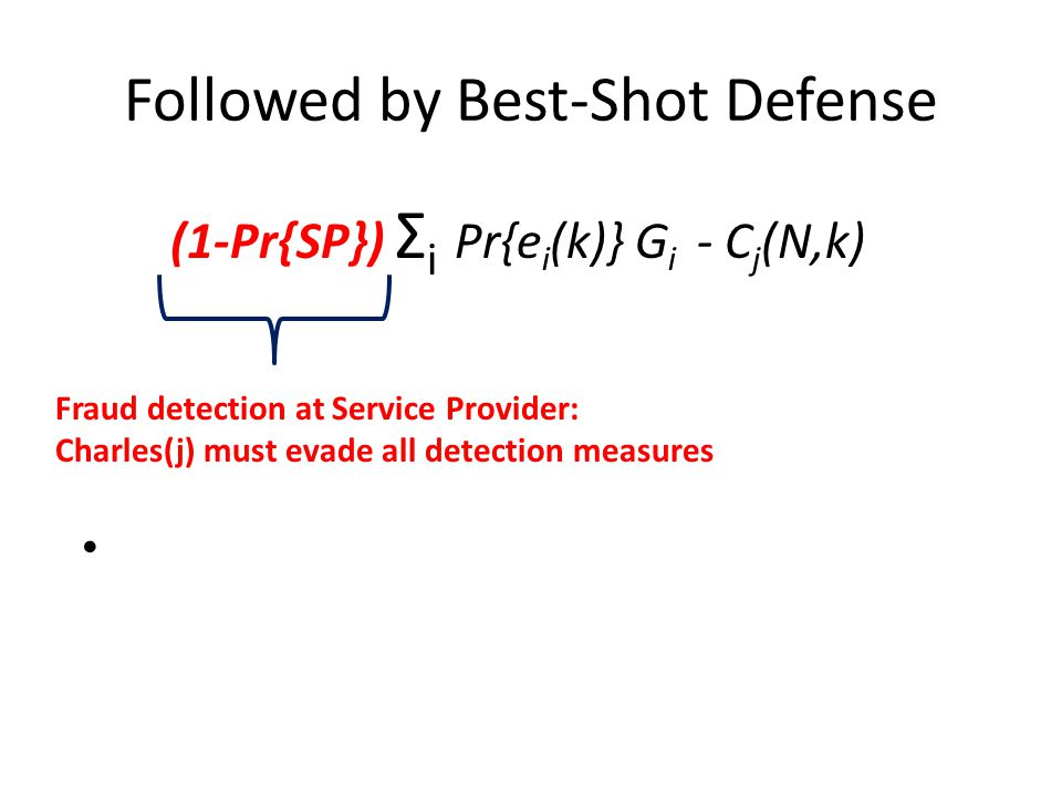 Followed by Best-Shot Defense (1-Pr{SP}) Σ i Pr{e i (k)} G i - C j (N,k) Fraud detection at Service Provider: Charles(j) must evade all detection measures