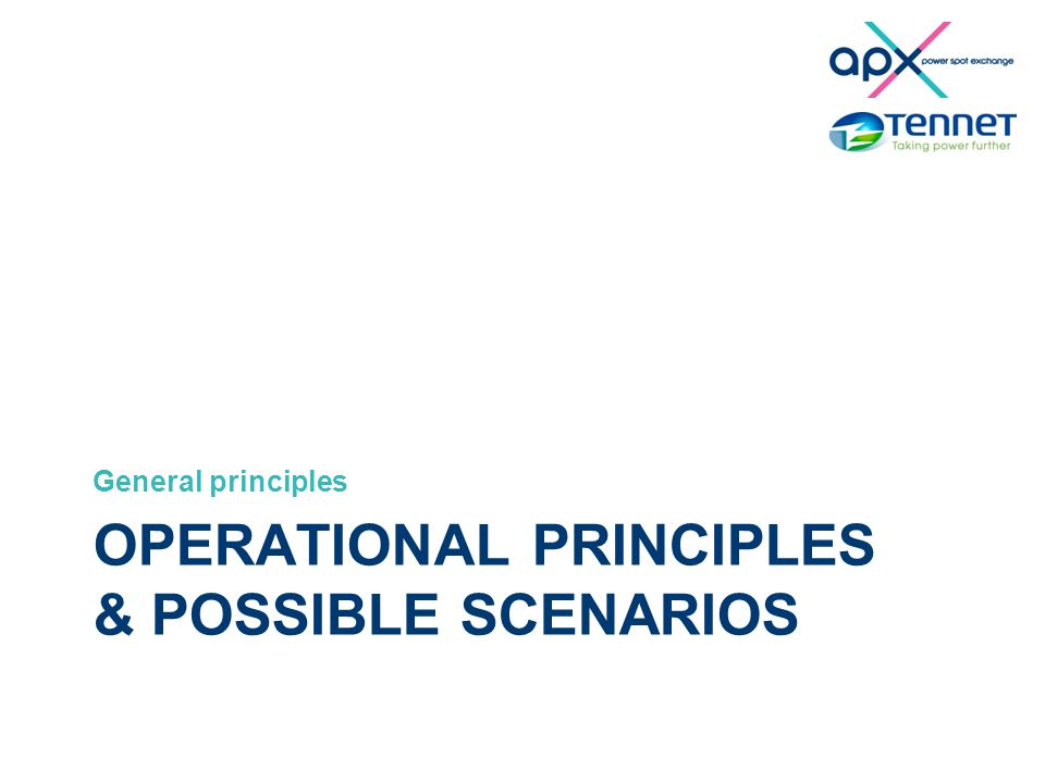OPERATIONAL PRINCIPLES & POSSIBLE SCENARIOS General principles