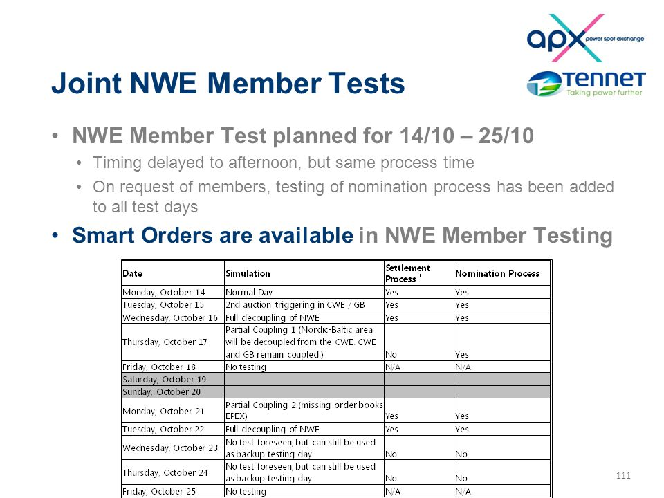 111 Joint NWE Member Tests NWE Member Test planned for 14/10 – 25/10 Timing delayed to afternoon, but same process time On request of members, testing of nomination process has been added to all test days Smart Orders are available in NWE Member Testing