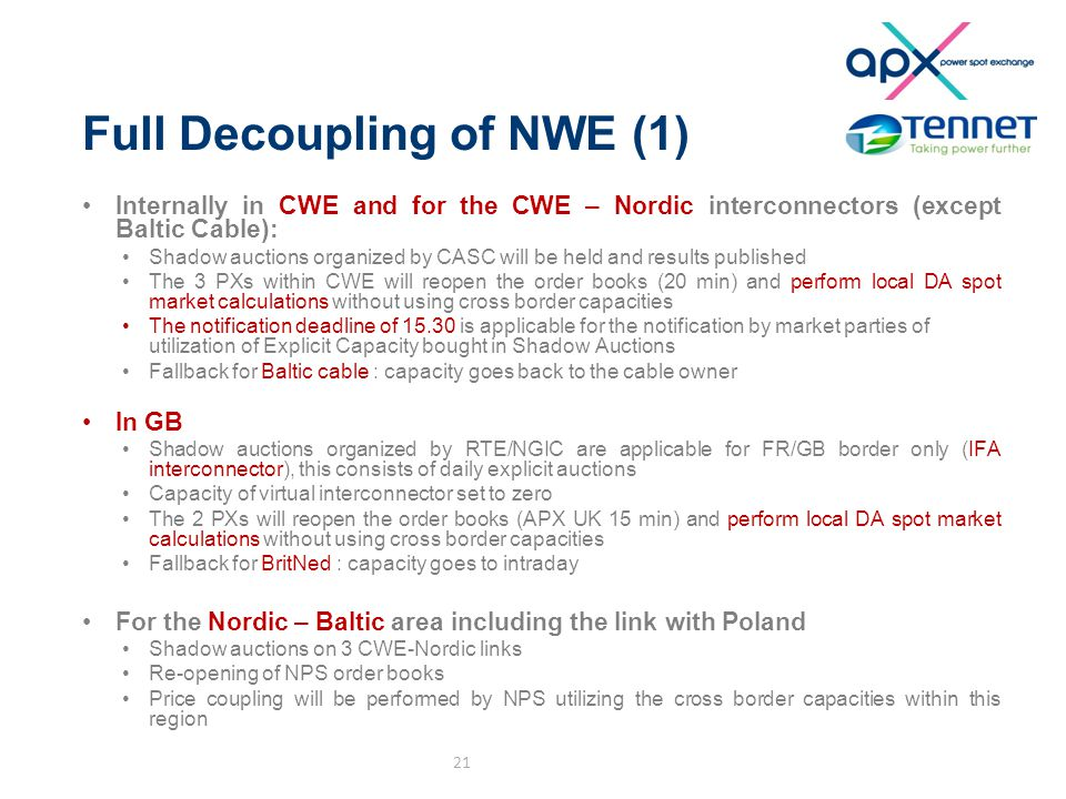 Full Decoupling of NWE (1) Internally in CWE and for the CWE – Nordic interconnectors (except Baltic Cable): Shadow auctions organized by CASC will be