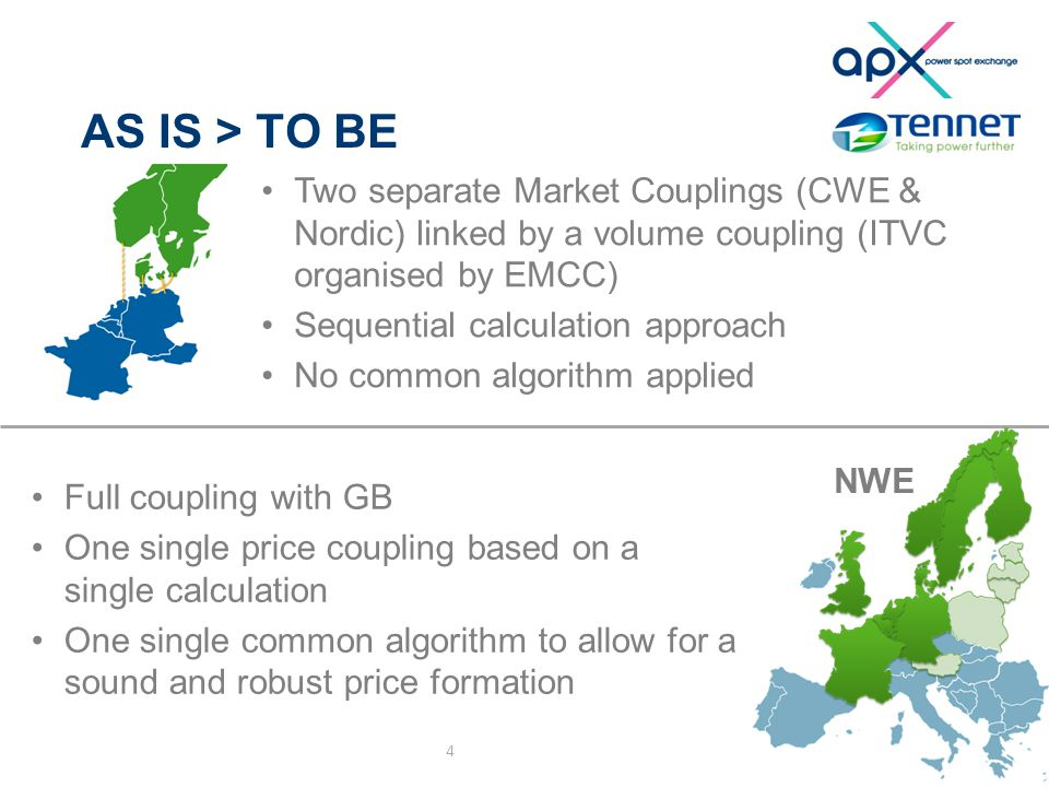 AS IS > TO BE 4 NWE Two separate Market Couplings (CWE & Nordic) linked by a volume coupling (ITVC organised by EMCC) Sequential calculation approach No common algorithm applied Full coupling with GB One single price coupling based on a single calculation One single common algorithm to allow for a sound and robust price formation