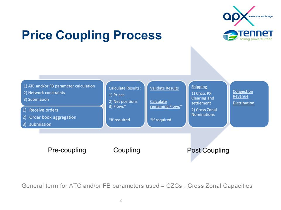 Price Coupling Process General term for ATC and/or FB parameters used = CZCs : Cross Zonal Capacities 8
