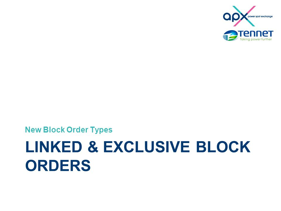 Smarter Day-ahead Smart bids project LINKED & EXCLUSIVE BLOCK ORDERS New Block Order Types