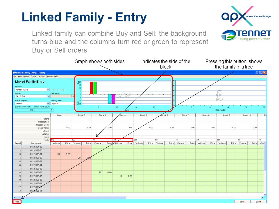 Linked Family - Entry Linked family can combine Buy and Sell: the background turns blue and the columns turn red or green to represent Buy or Sell ord