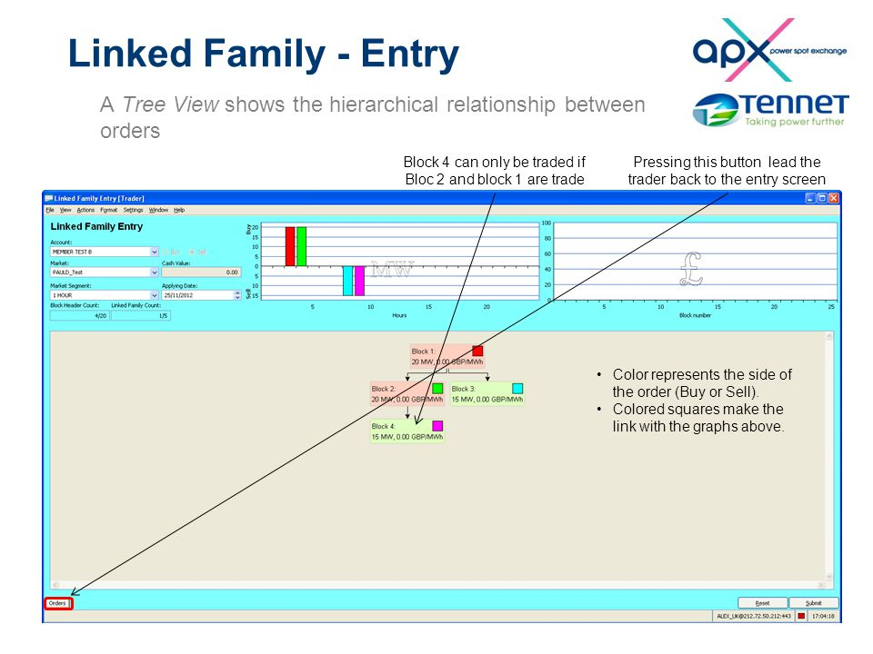 Linked Family - Entry A Tree View shows the hierarchical relationship between orders Pressing this button lead the trader back to the entry screen Blo