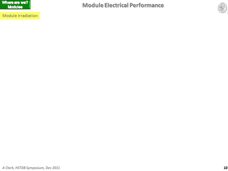 Module Electrical Performance Module Irradiation 10 A Clark, HSTD8 Symposium, Dec 2011