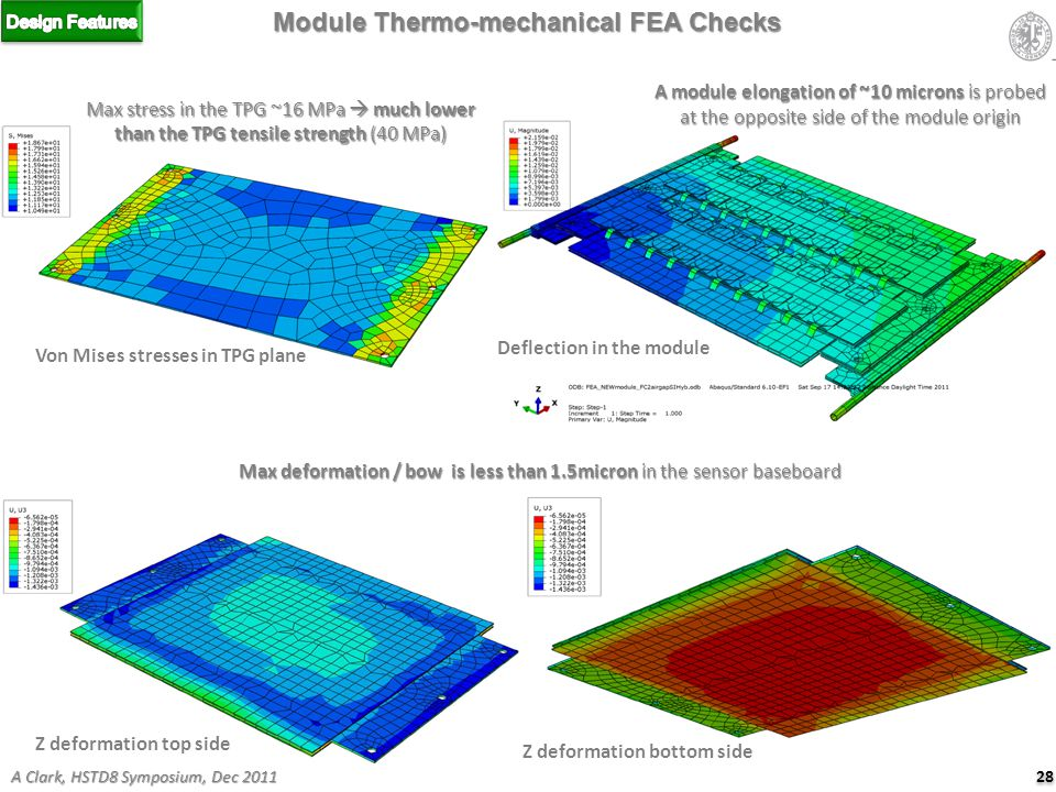 Max stress in the TPG ~16 MPa  much lower than the TPG tensile strength (40 MPa) Module Thermo-mechanical FEA Checks Von Mises stresses in TPG plane Deflection in the module A module elongation of ~10 microns is probed at the opposite side of the module origin Z deformation top side Z deformation bottom side Max deformation / bow is less than 1.5micron in the sensor baseboard 28 A Clark, HSTD8 Symposium, Dec 2011