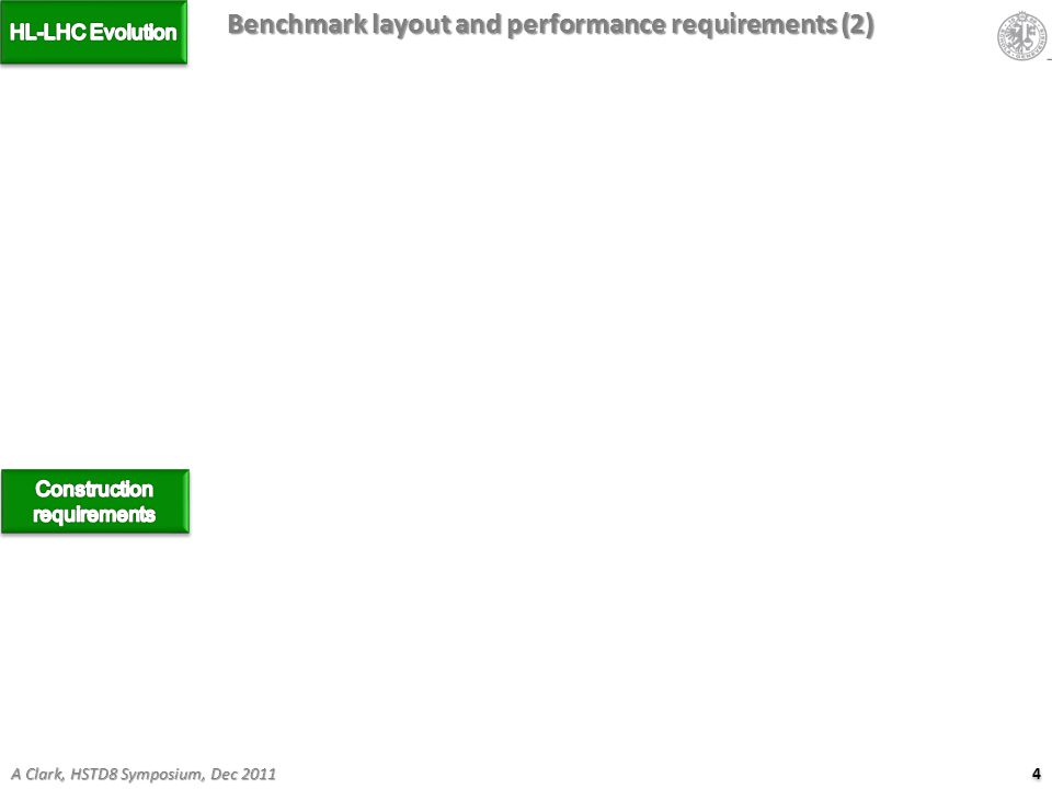 4 4 A Clark, HSTD8 Symposium, Dec 2011 Benchmark layout and performance requirements (2)
