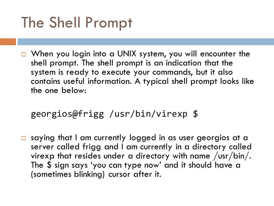Basic Shell Principles - 2  All UNIX shells are case sensitive with regards to both the commands and their arguments, in contrast to versions of Windows/DOS systems.