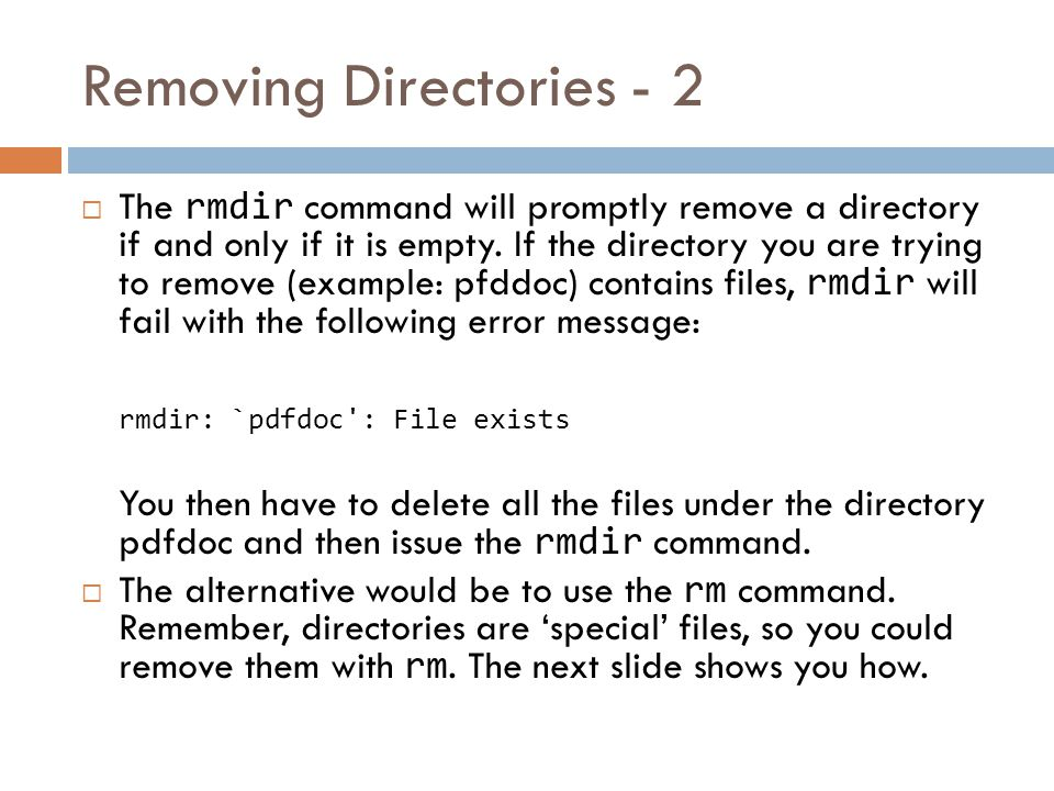 Removing Directories - 1  What about the seqdocs directory , you ask.