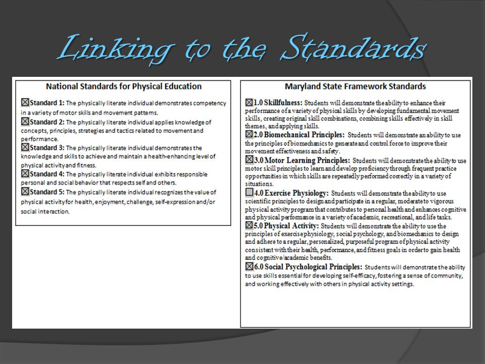 Linking to the Standards