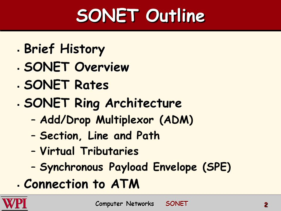 SONET Outline  Brief History  SONET Overview  SONET Rates  SONET Ring Architecture –Add/Drop Multiplexor (ADM) –Section, Line and Path –Virtual Tr