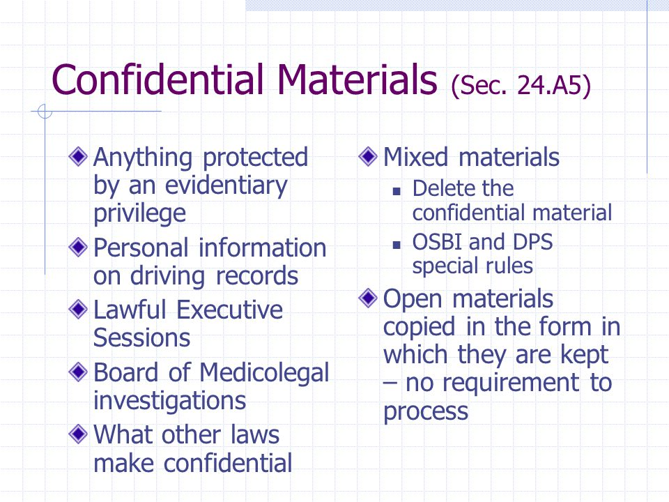 Confidential Materials (Sec.