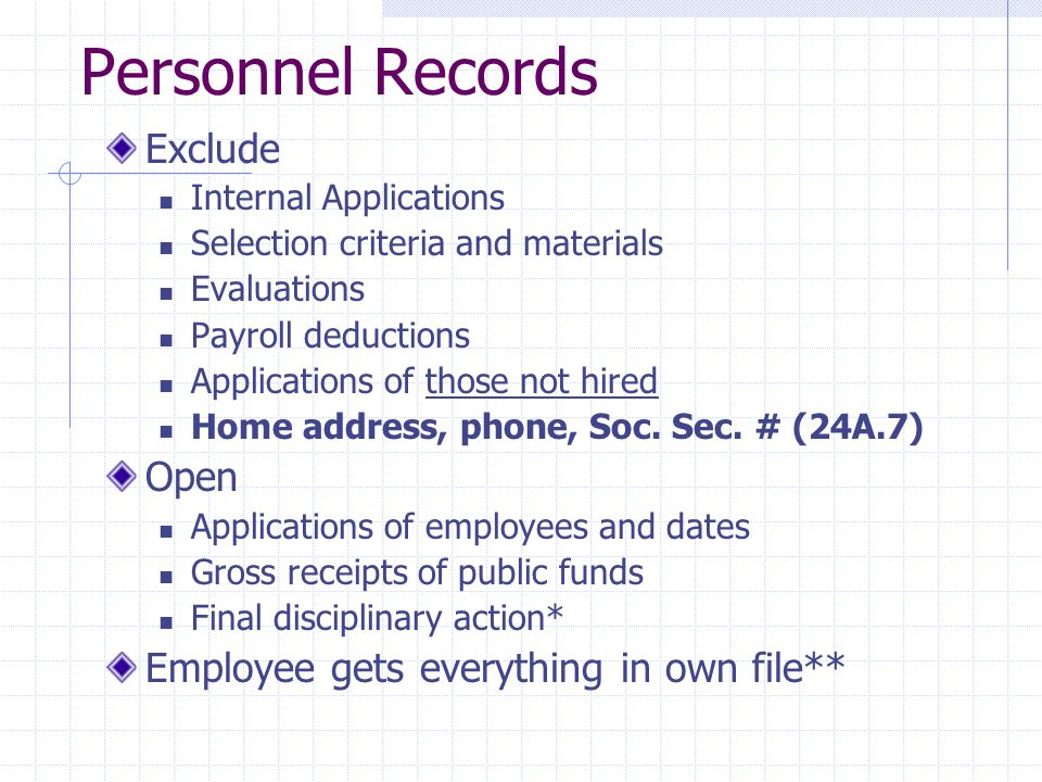 Personnel Records Exclude Internal Applications Selection criteria and materials Evaluations Payroll deductions Applications of those not hired Home address, phone, Soc.