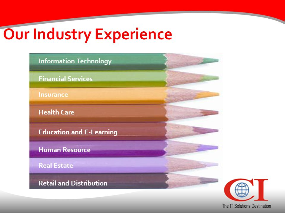 Our Industry Experience Information Technology Real Estate Financial Services Insurance Health Care Education and E-Learning Human Resource Retail and Distribution