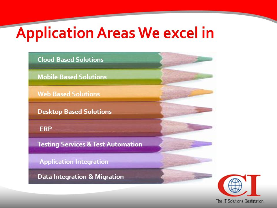 Application Areas We excel in Data Integration & Migration Cloud Based Solutions Mobile Based Solutions Web Based Solutions Desktop Based Solutions ERP Testing Services & Test Automation Application Integration