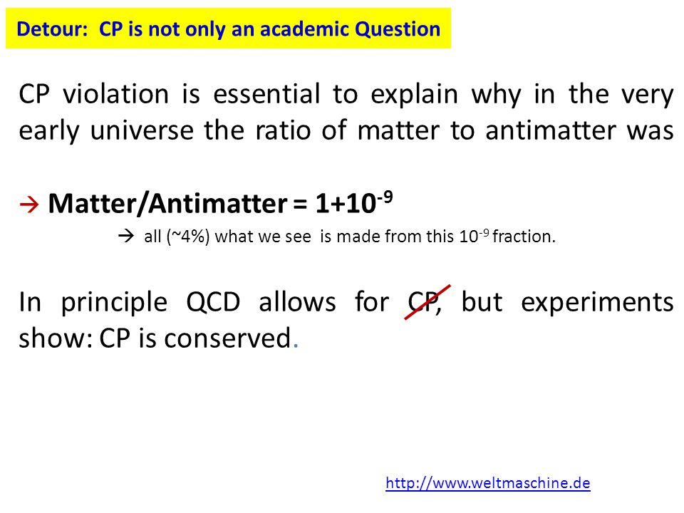 Detour: CP is not only an academic Question CP violation is essential to explain why in the very early universe the ratio of matter to antimatter was