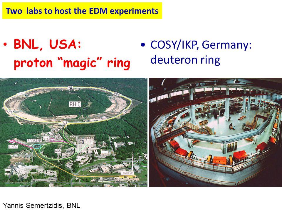 "Two labs to host the EDM experiments BNL, USA: proton ""magic"" ring COSY/IKP, Germany: deuteron ring Yannis Semertzidis, BNL"