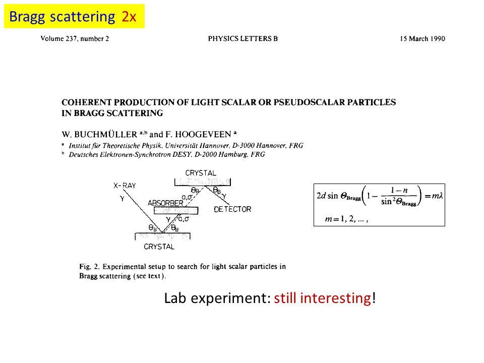 Lab experiment: still interesting! Bragg scattering 2x