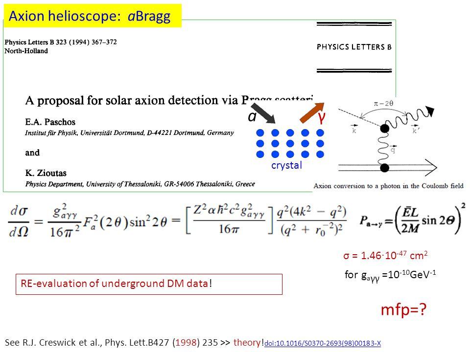 σ = 1.46 · 10 -47 cm 2 for g a γγ =10 -10 GeV -1 mfp=? See R.J. Creswick et al., Phys. Lett.B427 (1998) 235 >> theory! doi:10.1016/S0370-2693(98)00183