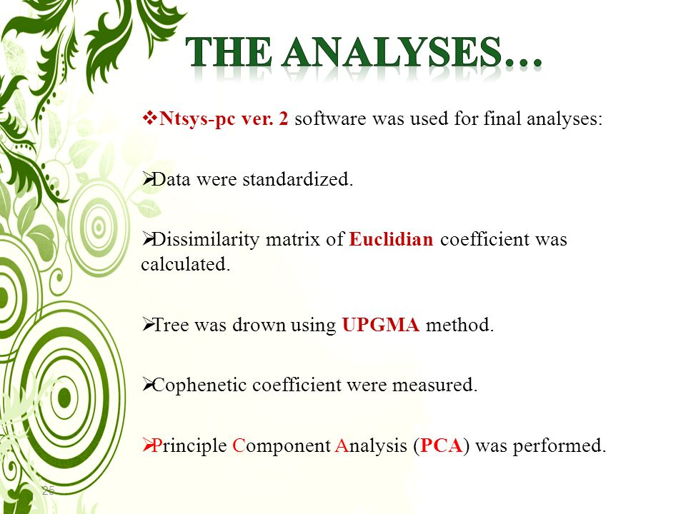 25  Ntsys-pc ver. 2 software was used for final analyses:  Data were standardized.