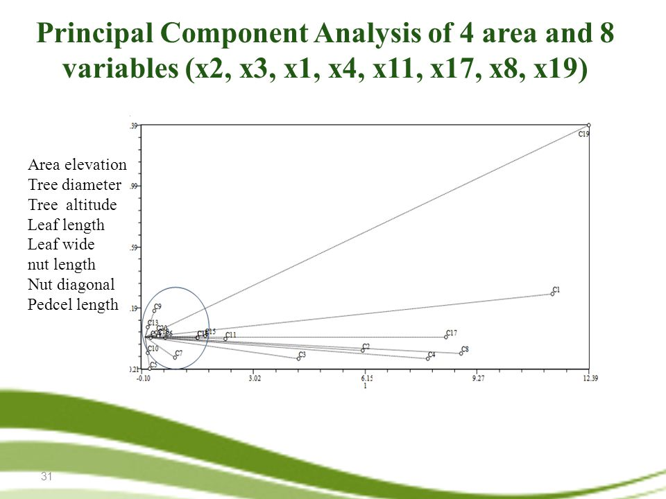 31 Principal Component Analysis of 4 area and 8 variables (x2, x3, x1, x4, x11, x17, x8, x19) Area elevation Tree diameter Tree altitude Leaf length Leaf wide nut length Nut diagonal Pedcel length