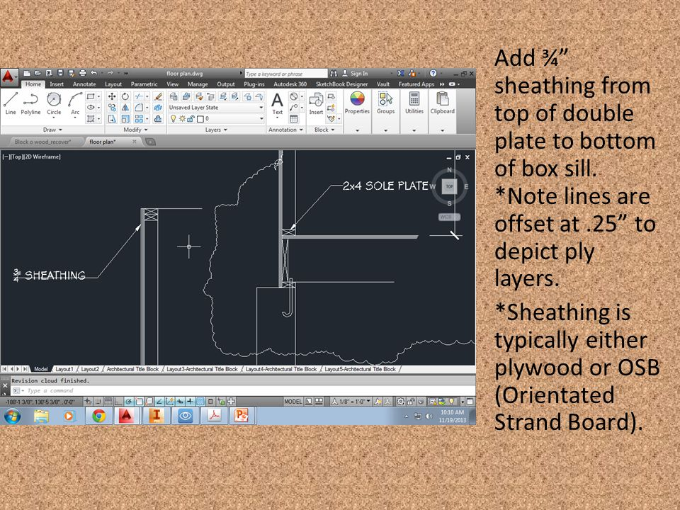 "Add ¾"" sheathing from top of double plate to bottom of box sill. *Note lines are offset at.25"" to depict ply layers. *Sheathing is typically either pl"