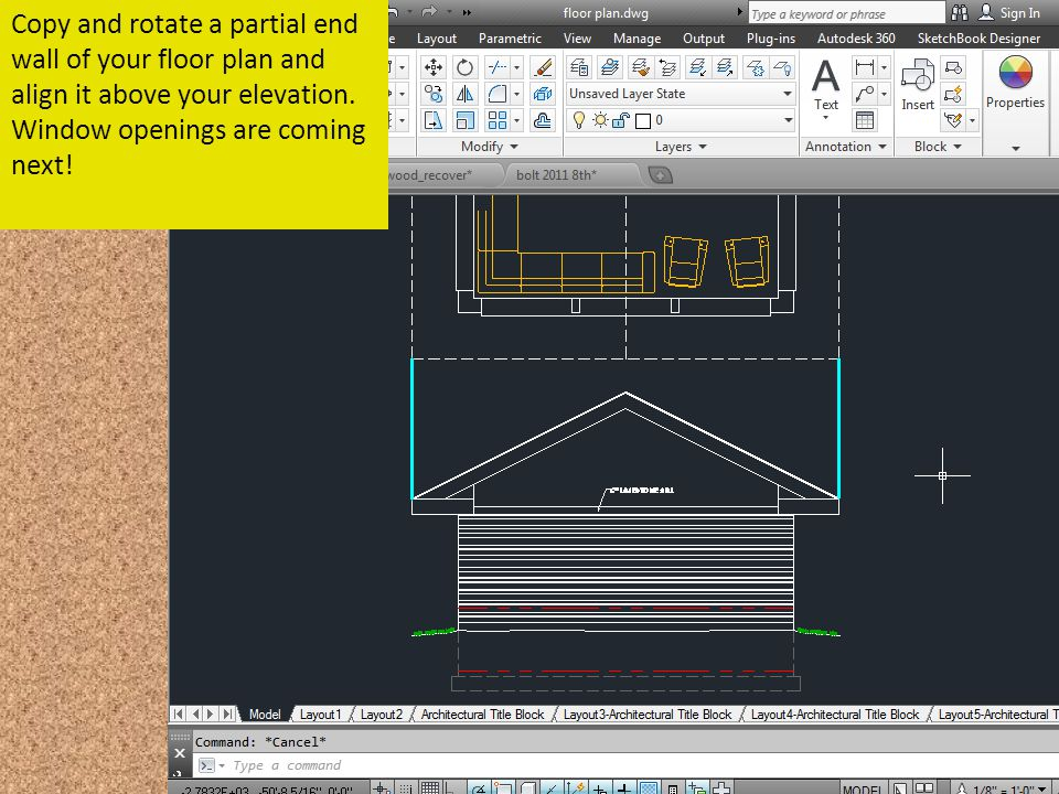 Copy and rotate a partial end wall of your floor plan and align it above your elevation. Window openings are coming next!