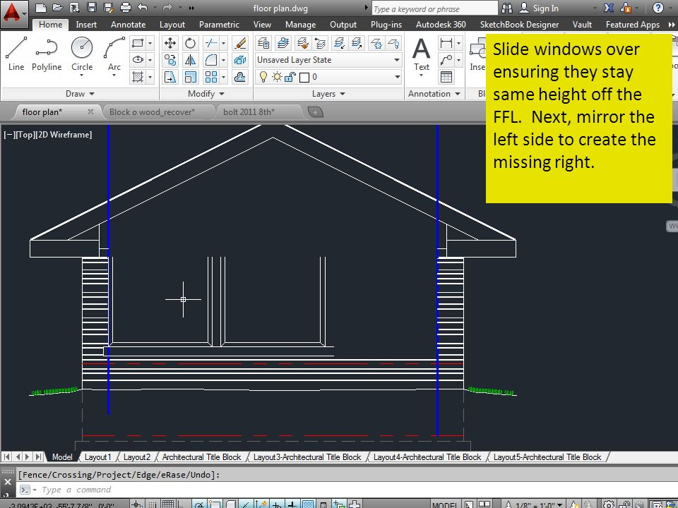 Slide windows over ensuring they stay same height off the FFL. Next, mirror the left side to create the missing right.