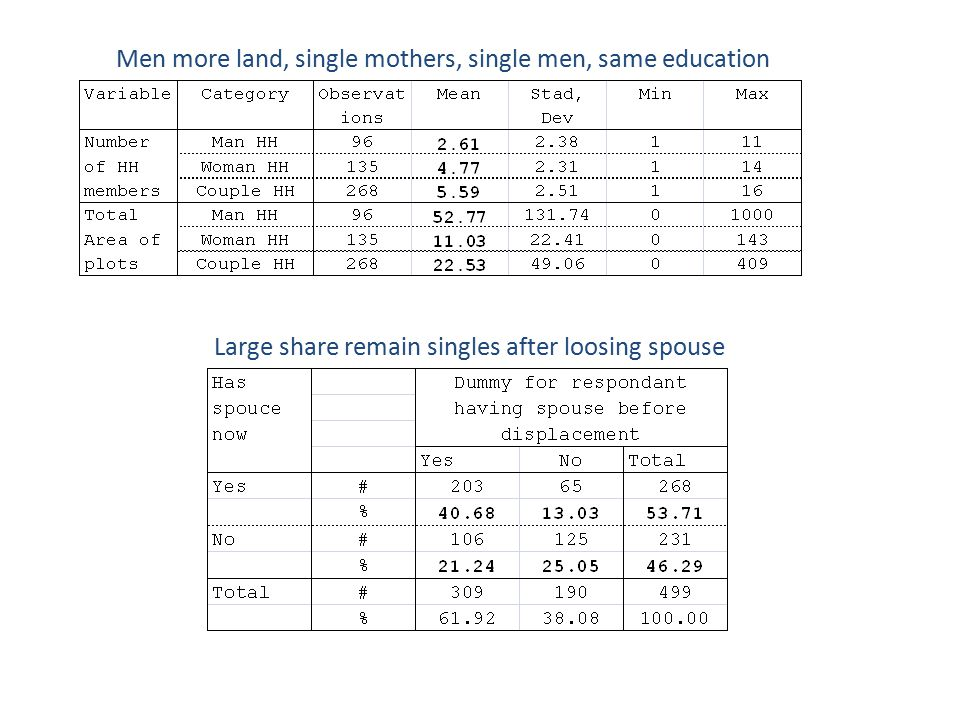 Men more land, single mothers, single men, same education Large share remain singles after loosing spouse