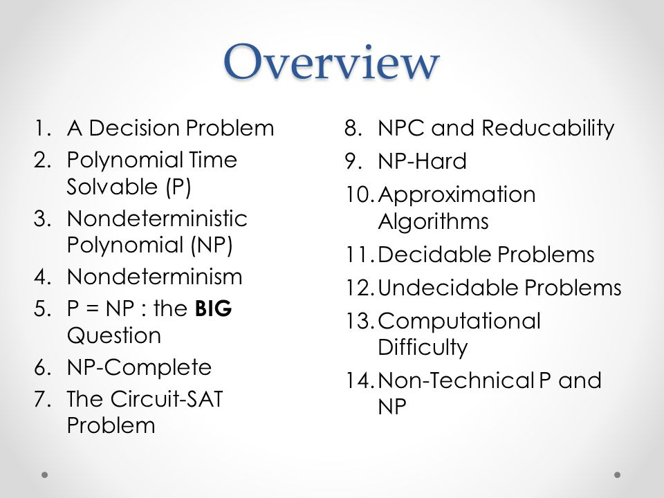 Overview 8.NPC and Reducability 9.NP-Hard 10.Approximation Algorithms 11.Decidable Problems 12.Undecidable Problems 13.Computational Difficulty 14.Non