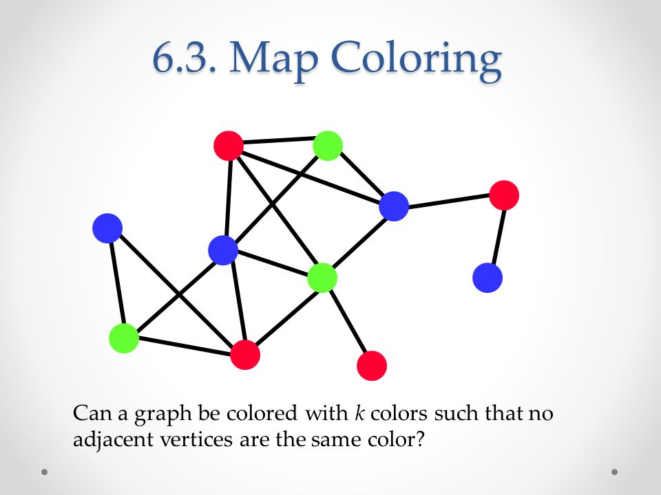 6.3. Map Coloring Can a graph be colored with k colors such that no adjacent vertices are the same color?