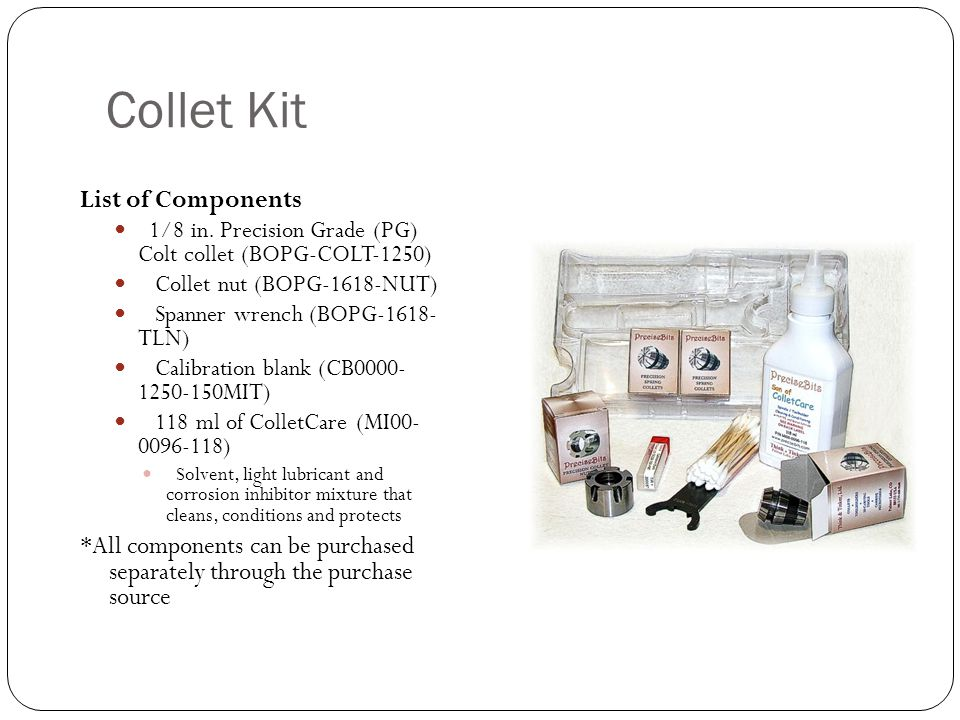 Collet Kit List of Components 1/8 in.