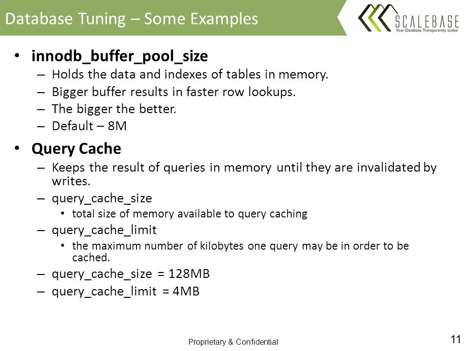 11 Proprietary & Confidential innodb_buffer_pool_size – Holds the data and indexes of tables in memory.