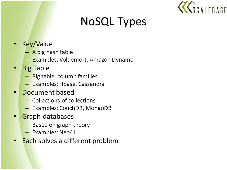 NoSQL Types Key/Value – A big hash table – Examples: Voldemort, Amazon Dynamo Big Table – Big table, column families – Examples: Hbase, Cassandra Document based – Collections of collections – Examples: CouchDB, MongoDB Graph databases – Based on graph theory – Examples: Neo4J Each solves a different problem