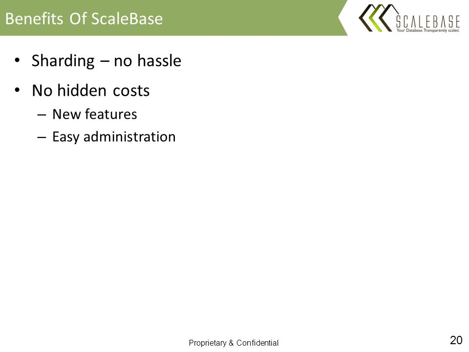 20 Proprietary & Confidential Sharding – no hassle No hidden costs – New features – Easy administration Benefits Of ScaleBase