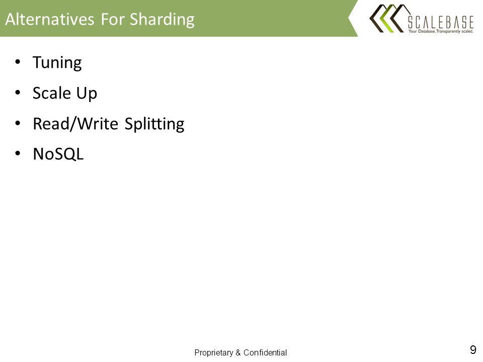 9 Proprietary & Confidential Tuning Scale Up Read/Write Splitting NoSQL Alternatives For Sharding