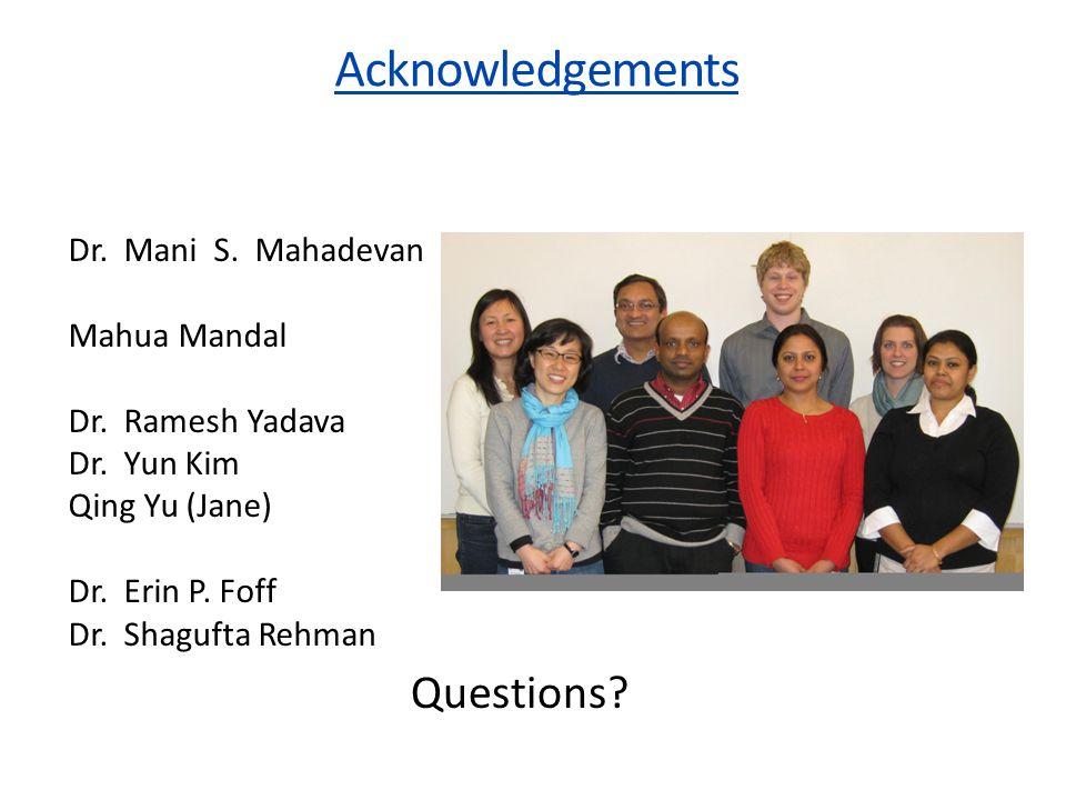 Acknowledgements Dr. Mani S. Mahadevan Mahua Mandal Dr.