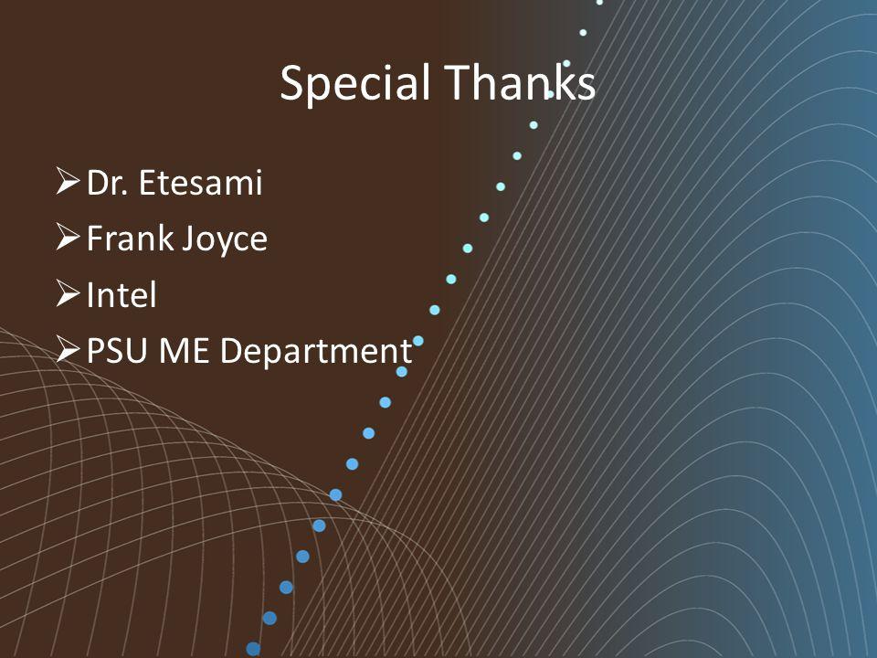 Special Thanks  Dr. Etesami  Frank Joyce  Intel  PSU ME Department