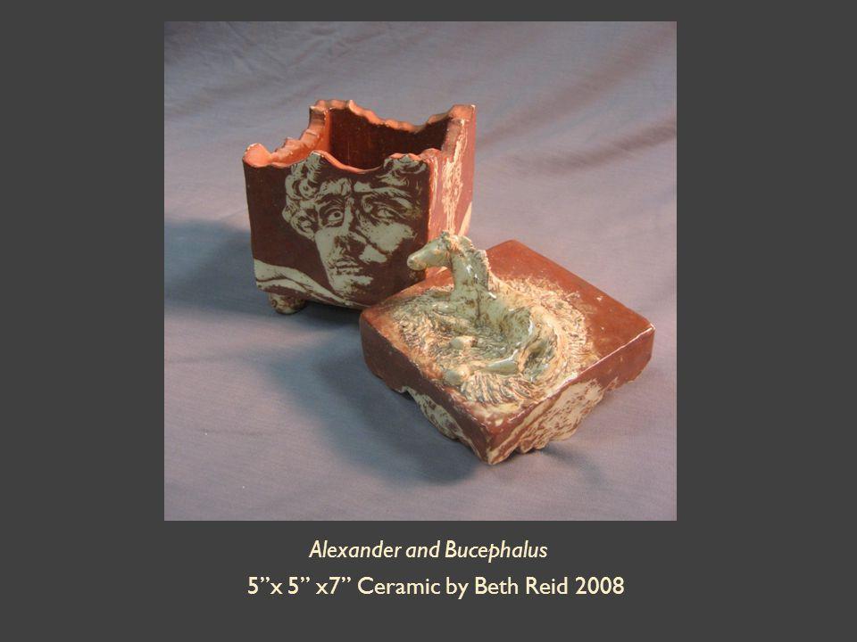 Alexander and Bucephalus 5 x 5 x7 Ceramic by Beth Reid 2008