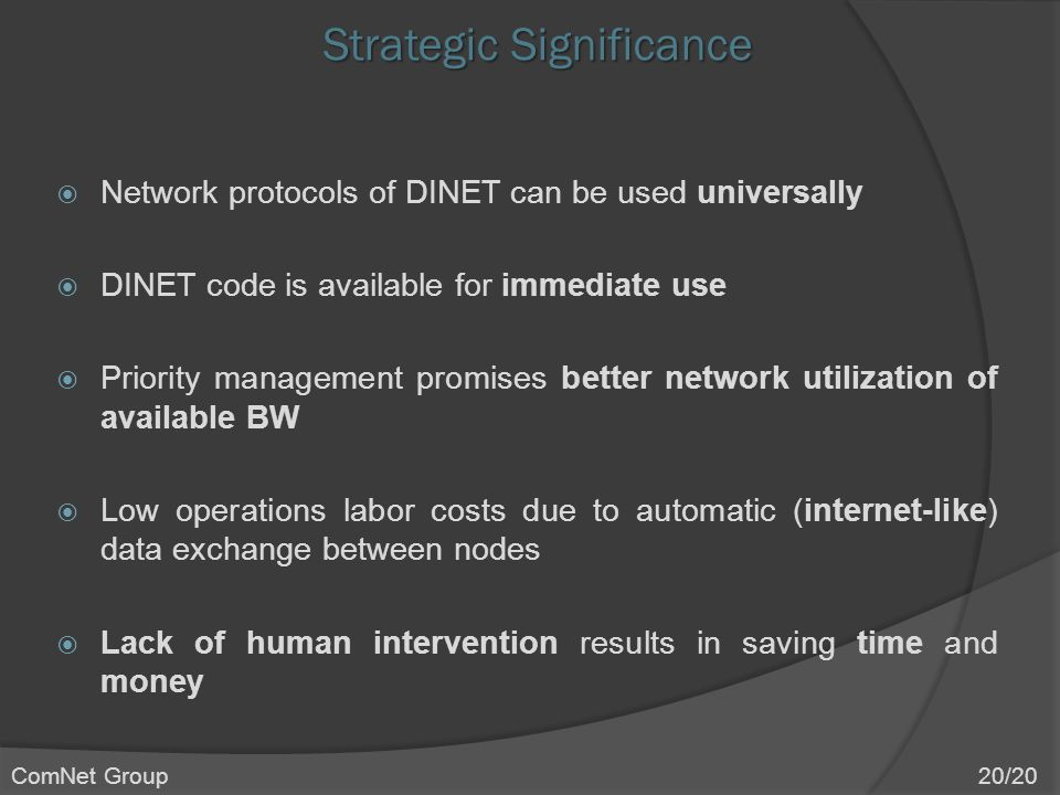 Strategic Significance  Network protocols of DINET can be used universally  DINET code is available for immediate use  Priority management promises better network utilization of available BW  Low operations labor costs due to automatic (internet-like) data exchange between nodes  Lack of human intervention results in saving time and money ComNet Group 20/20