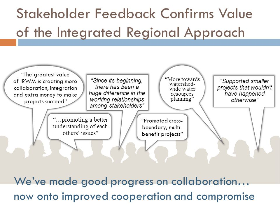 Stakeholder Feedback Confirms Value of the Integrated Regional Approach The greatest value of IRWM is creating more collaboration, integration and extra money to make projects succeed …promoting a better understanding of each others' issues Since its beginning, there has been a huge difference in the working relationships among stakeholders Promoted cross- boundary, multi- benefit projects Supported smaller projects that wouldn't have happened otherwise More towards watershed- wide water resources planning We've made good progress on collaboration… now onto improved cooperation and compromise